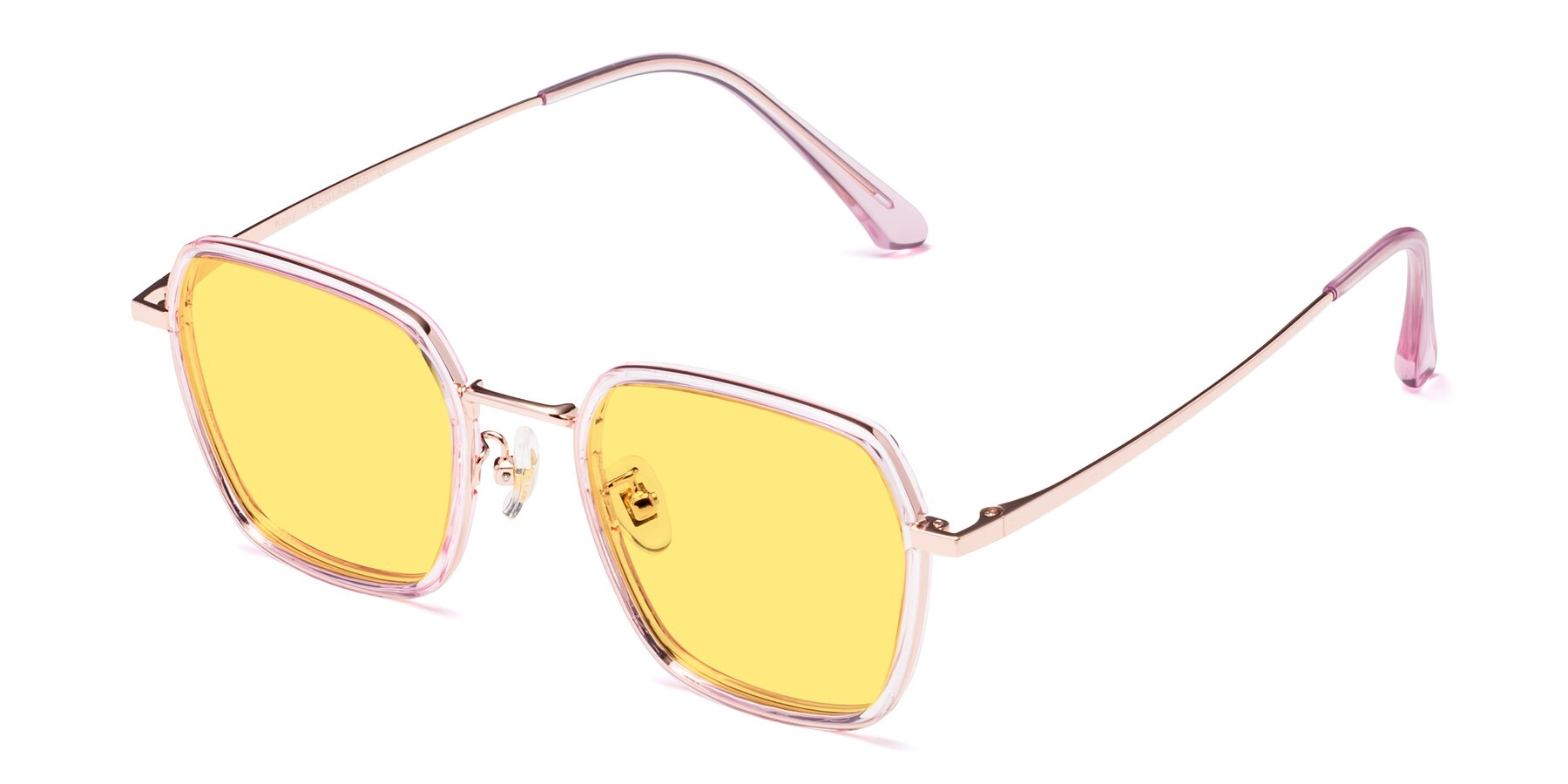Angle of Kelly in Pink-Rose Gold with Medium Yellow Tinted Lenses