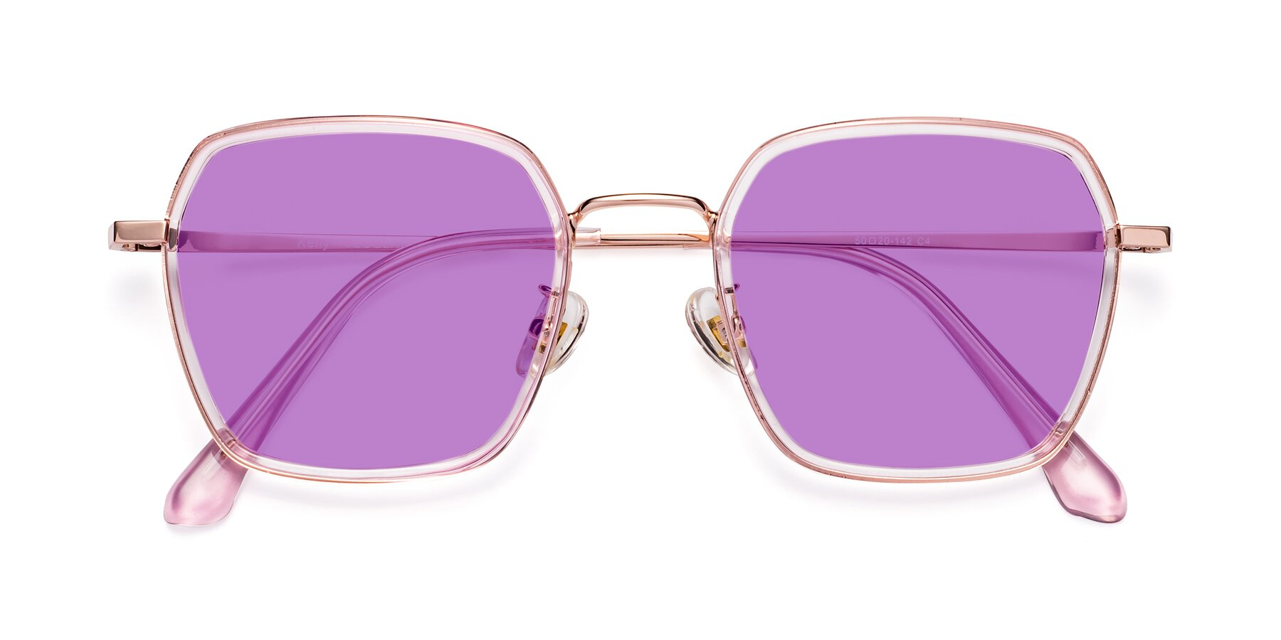 Folded Front of Kelly in Pink-Rose Gold with Medium Purple Tinted Lenses