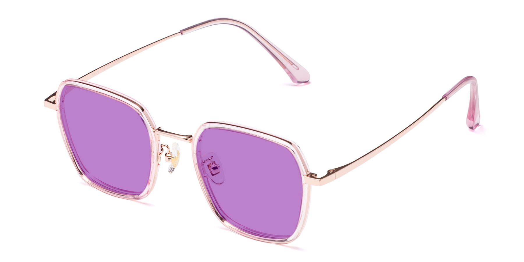 Angle of Kelly in Pink-Rose Gold with Medium Purple Tinted Lenses