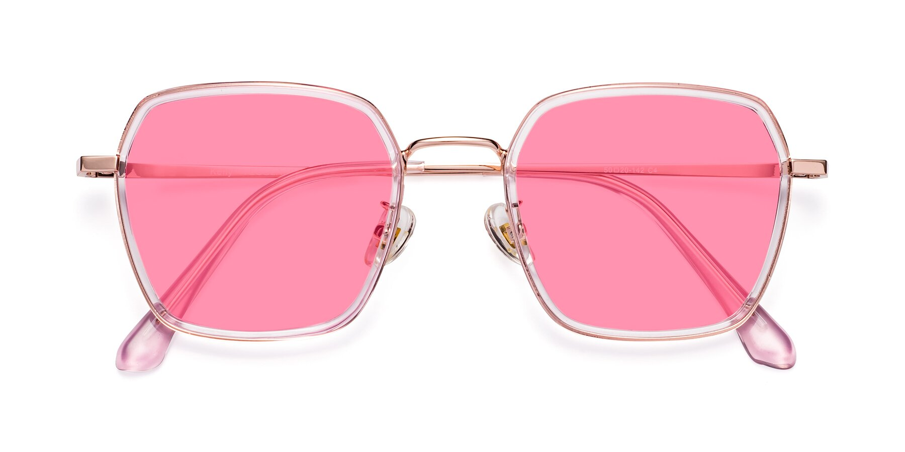 Folded Front of Kelly in Pink-Rose Gold with Pink Tinted Lenses