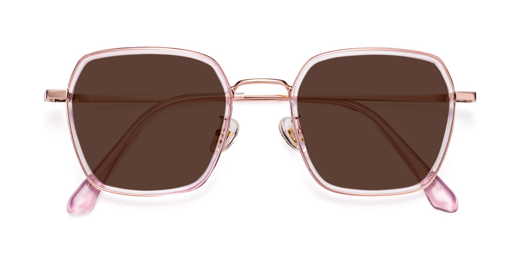 Folded Front of Kelly in Pink-Rose Gold with Brown Tinted Lenses