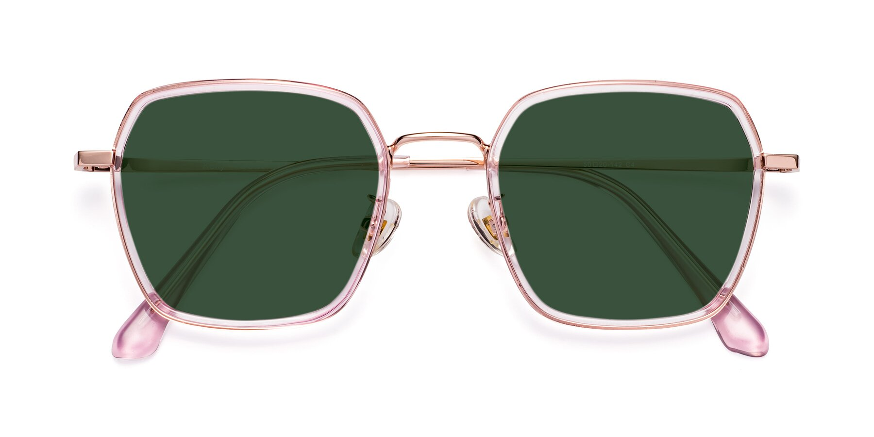 Folded Front of Kelly in Pink-Rose Gold with Green Tinted Lenses