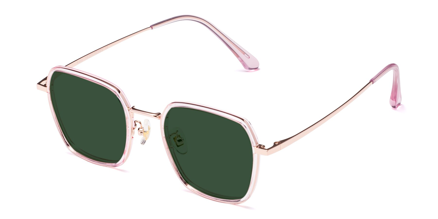 Angle of Kelly in Pink-Rose Gold with Green Tinted Lenses