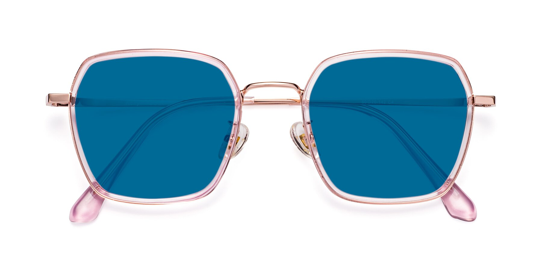 Folded Front of Kelly in Pink-Rose Gold with Blue Tinted Lenses