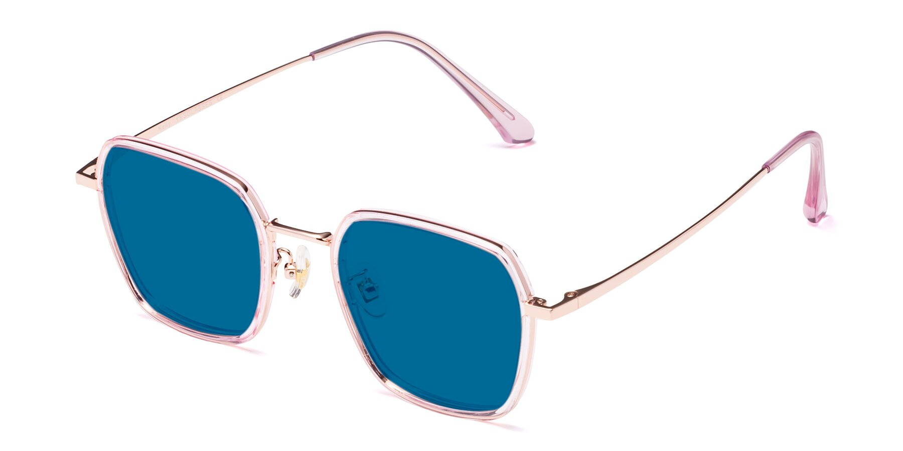 Angle of Kelly in Pink-Rose Gold with Blue Tinted Lenses