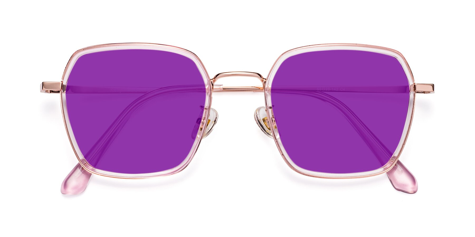 Folded Front of Kelly in Pink-Rose Gold with Purple Tinted Lenses