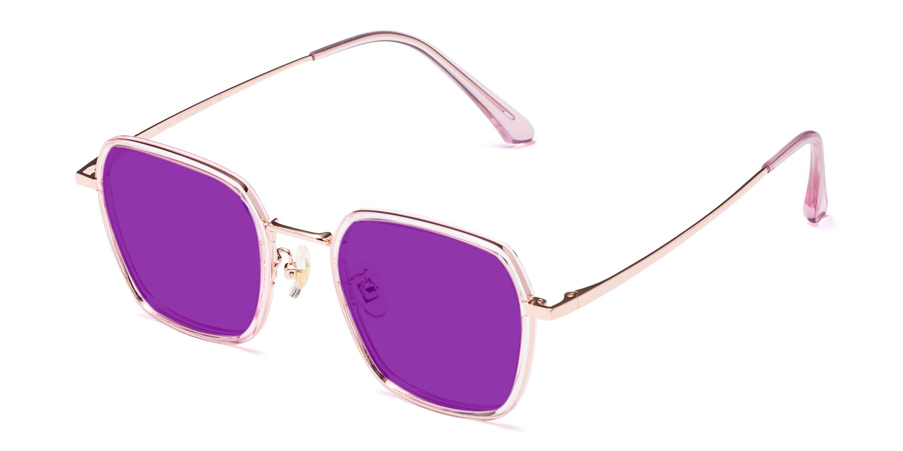 Angle of Kelly in Pink-Rose Gold with Purple Tinted Lenses