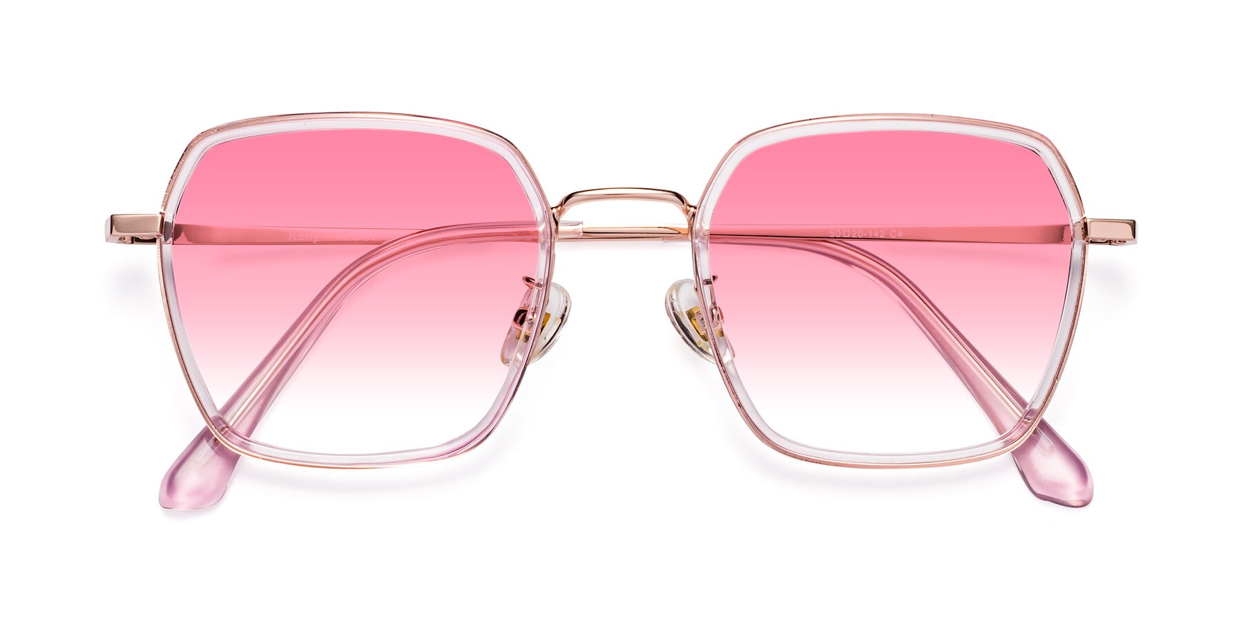 Folded Front of Kelly in Pink-Rose Gold with Pink Gradient Lenses