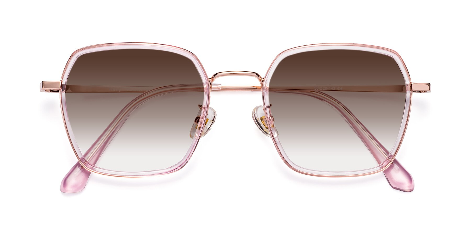 Folded Front of Kelly in Pink-Rose Gold with Brown Gradient Lenses
