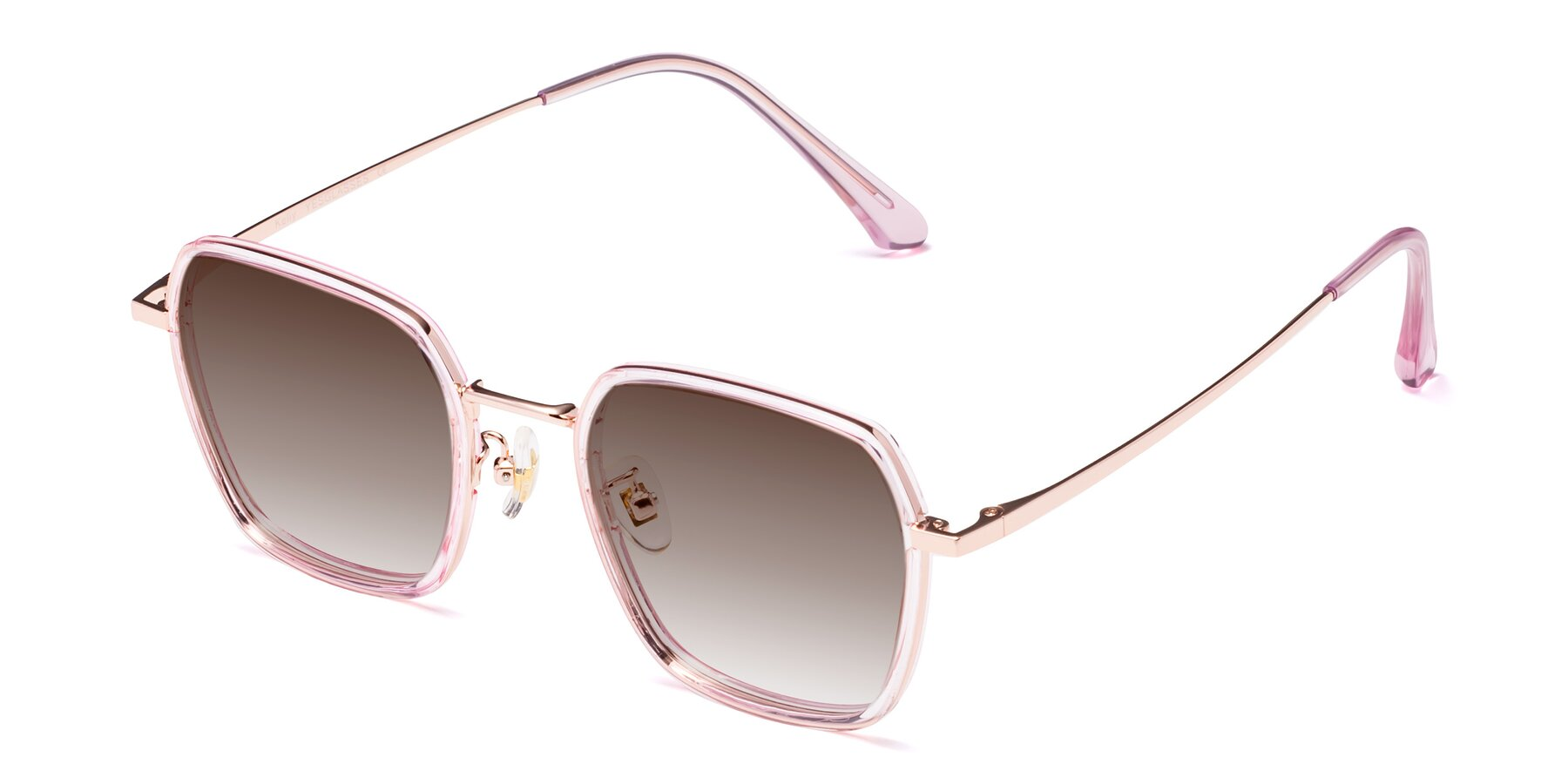 Angle of Kelly in Pink-Rose Gold with Brown Gradient Lenses