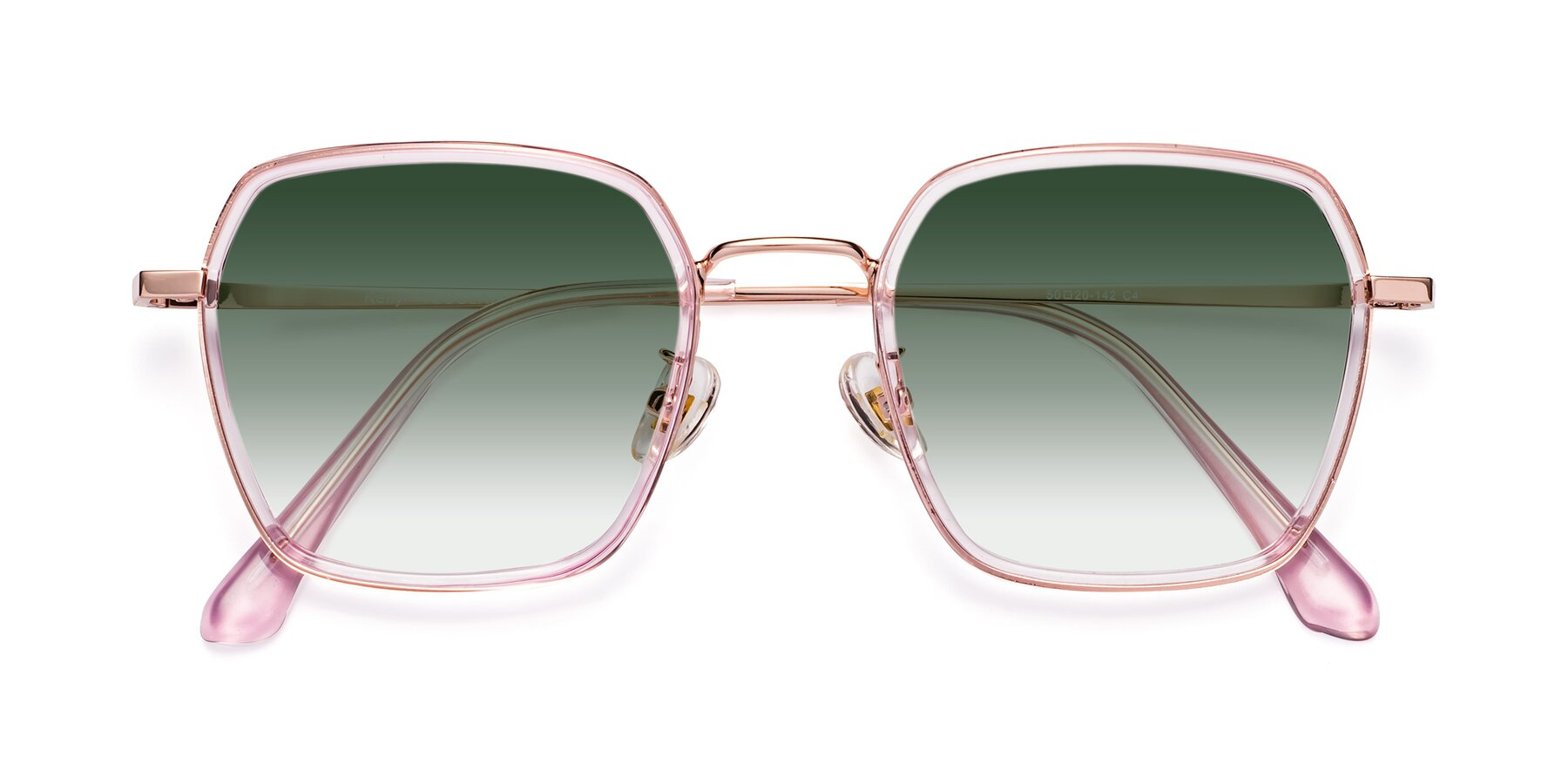 Folded Front of Kelly in Pink-Rose Gold with Green Gradient Lenses