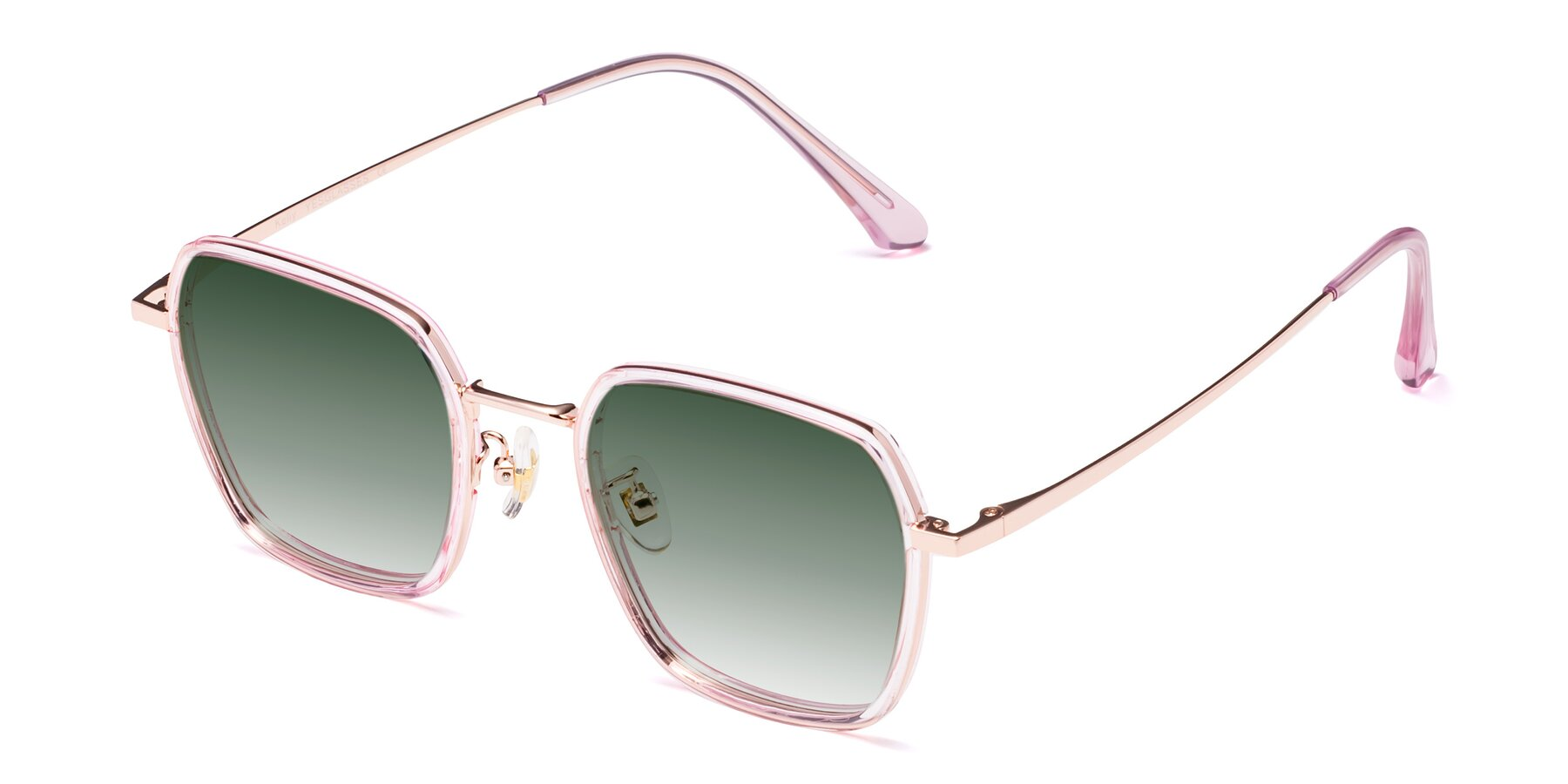 Angle of Kelly in Pink-Rose Gold with Green Gradient Lenses