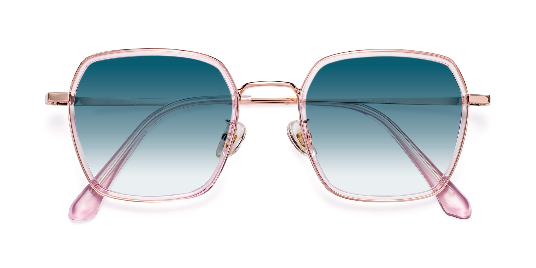 Folded Front of Kelly in Pink-Rose Gold with Blue Gradient Lenses