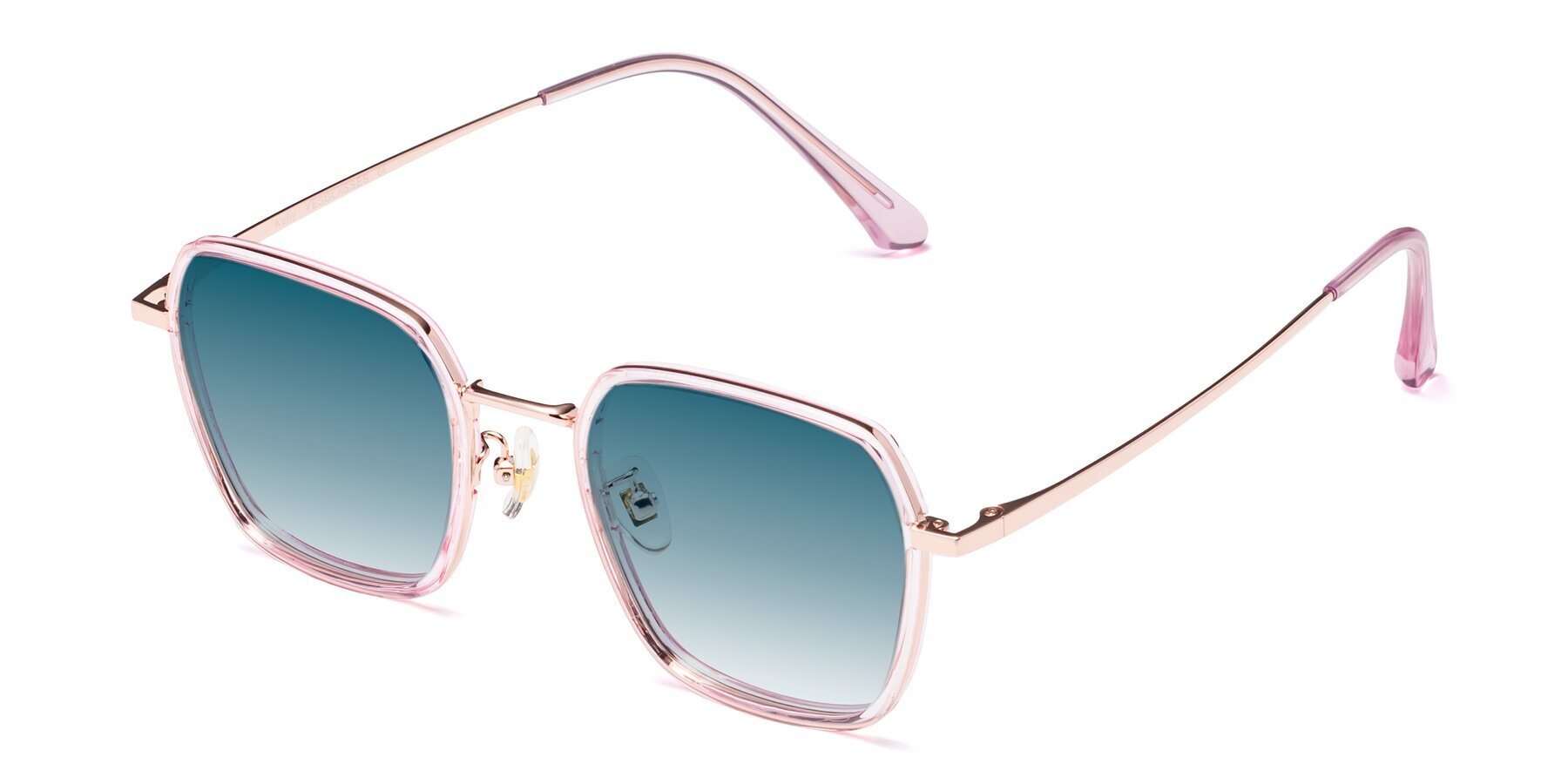 Angle of Kelly in Pink-Rose Gold with Blue Gradient Lenses