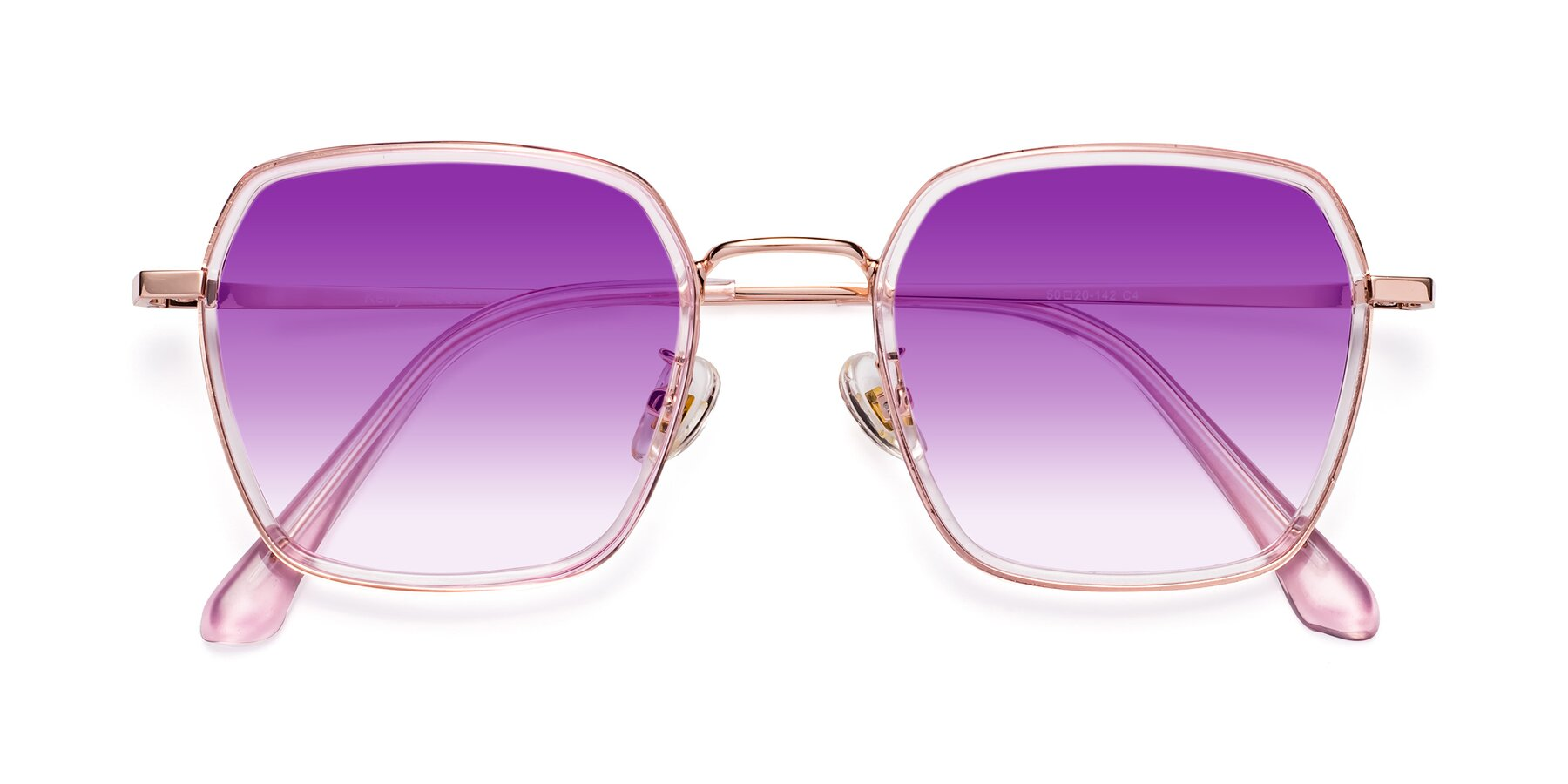 Folded Front of Kelly in Pink-Rose Gold with Purple Gradient Lenses