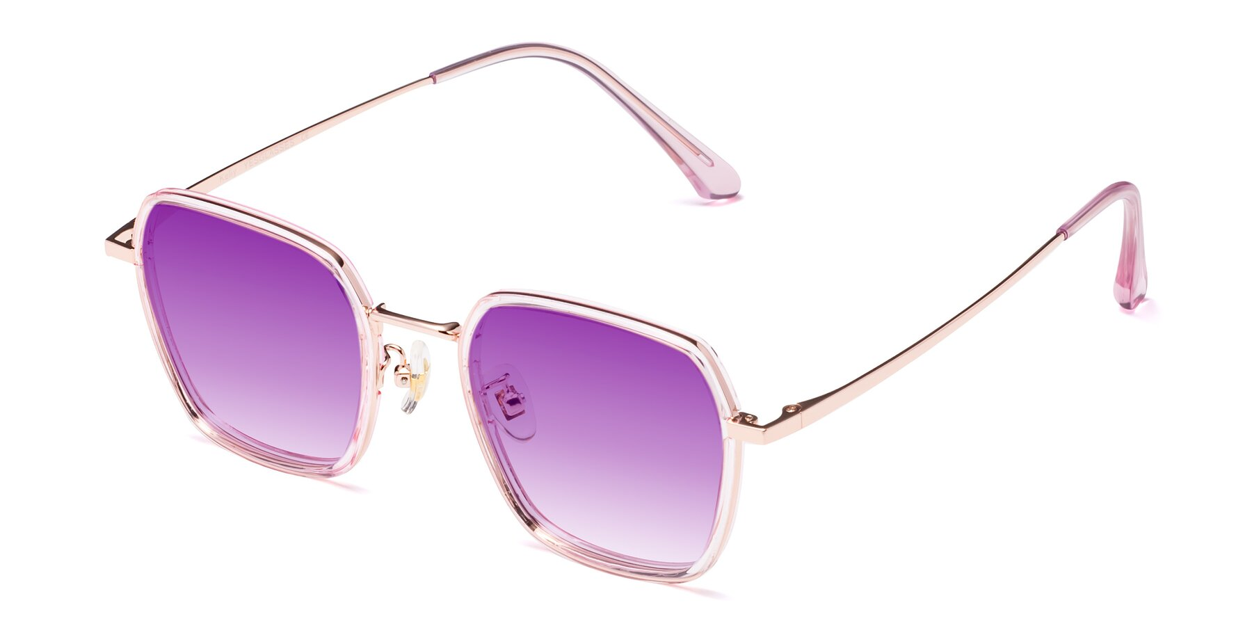 Angle of Kelly in Pink-Rose Gold with Purple Gradient Lenses