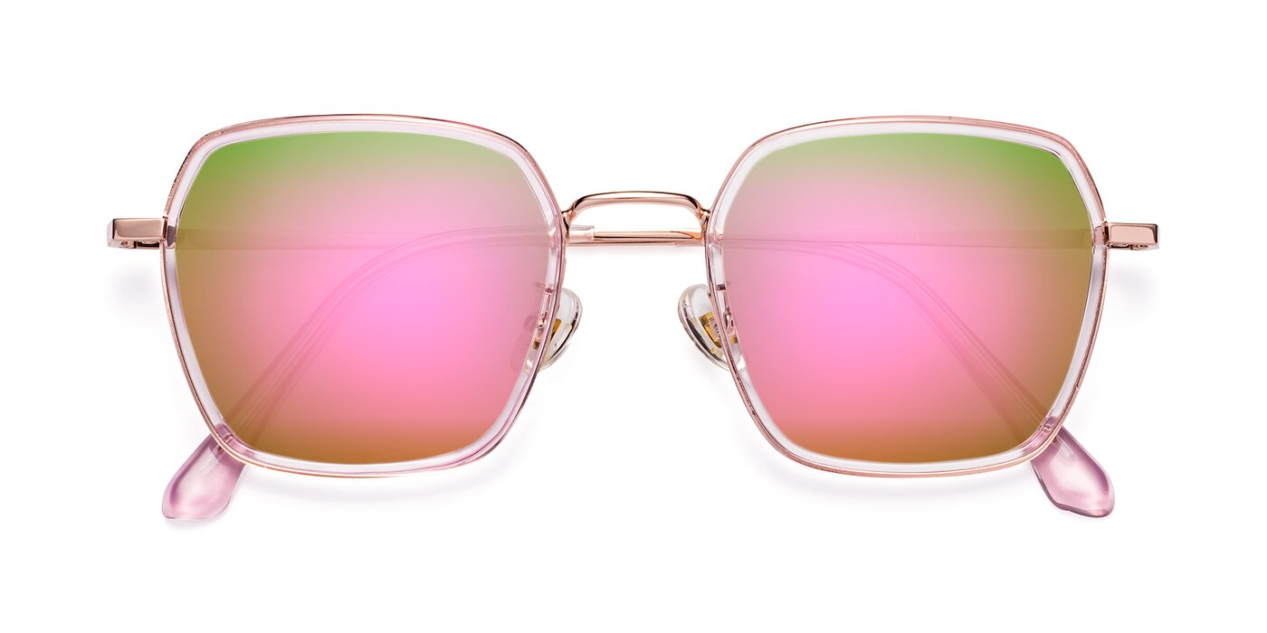 Kelly - Pink / Rose Gold Flash Mirrored Sunglasses