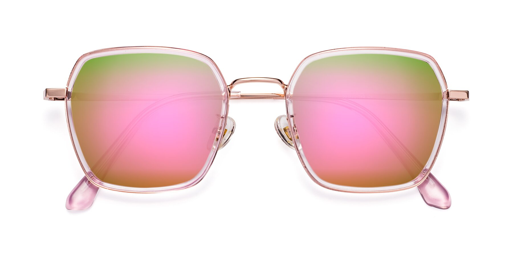 Folded Front of Kelly in Pink-Rose Gold with Pink Mirrored Lenses
