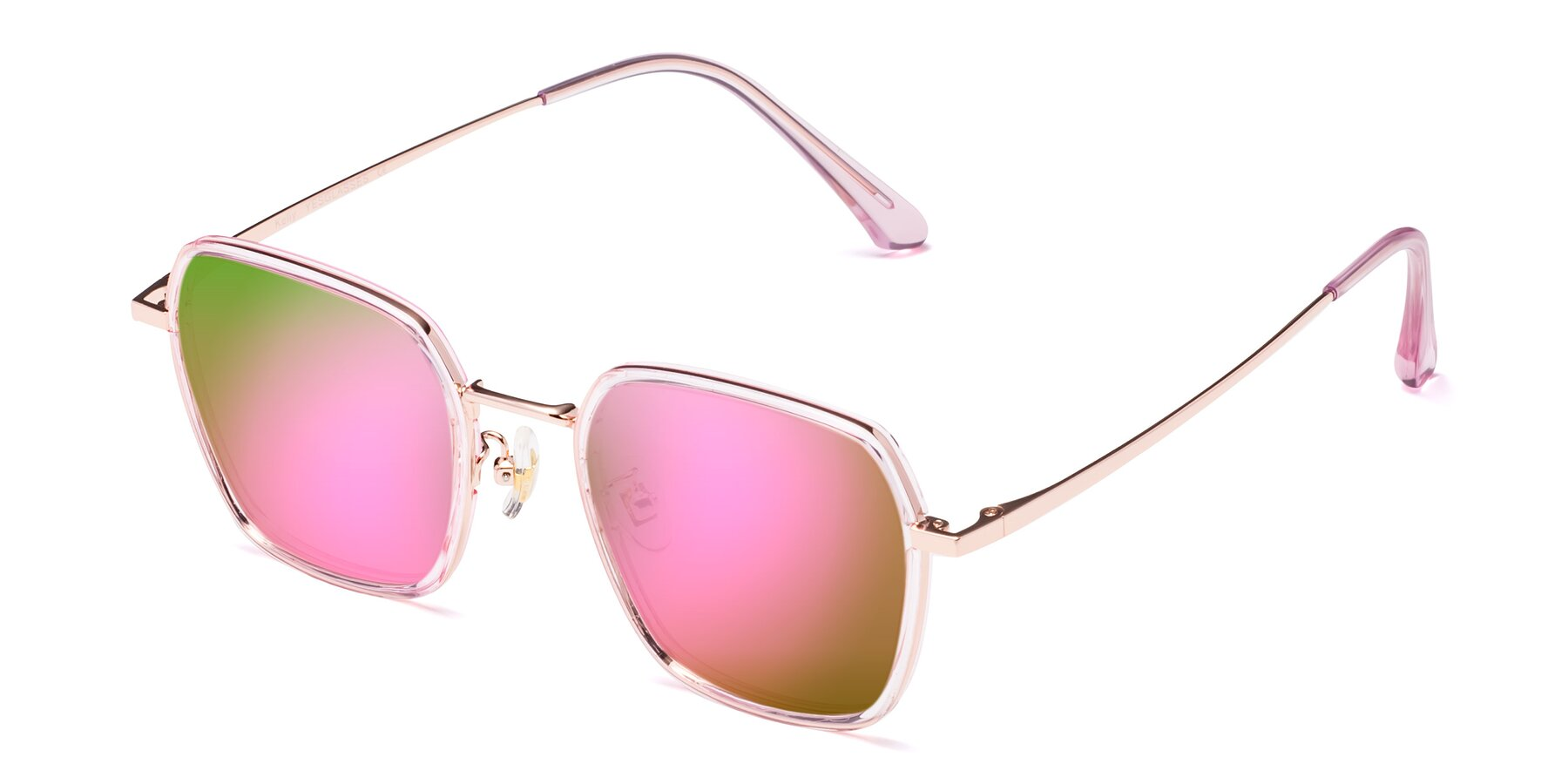 Angle of Kelly in Pink-Rose Gold with Pink Mirrored Lenses