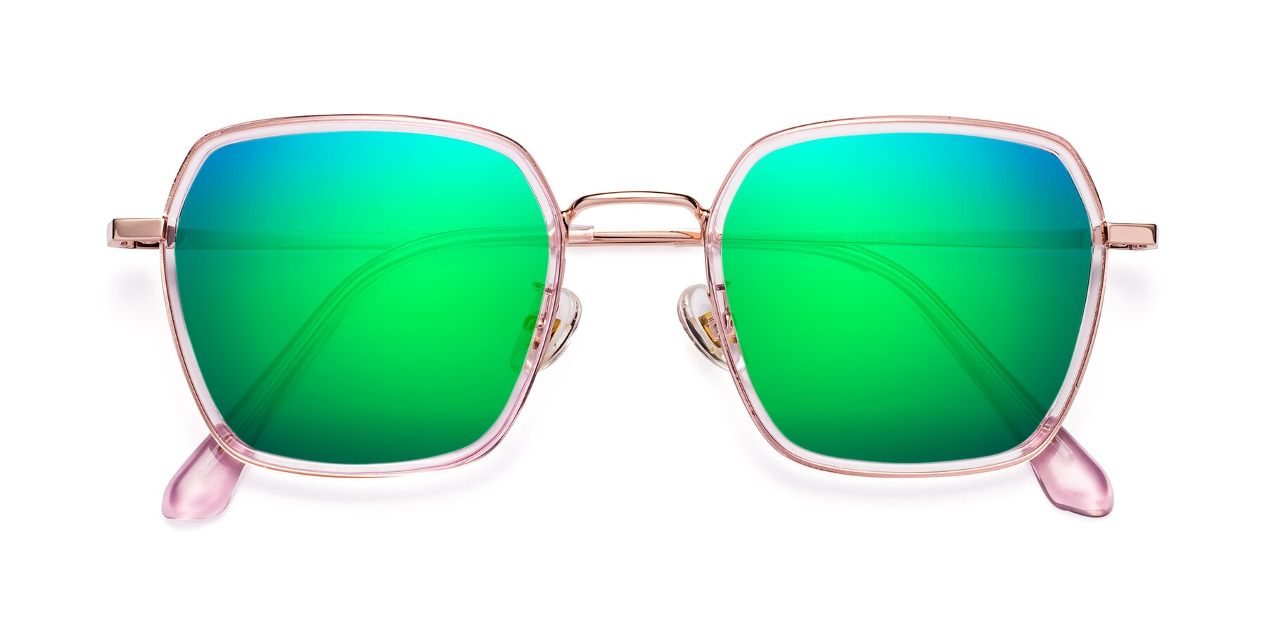 Folded Front of Kelly in Pink-Rose Gold with Green Mirrored Lenses