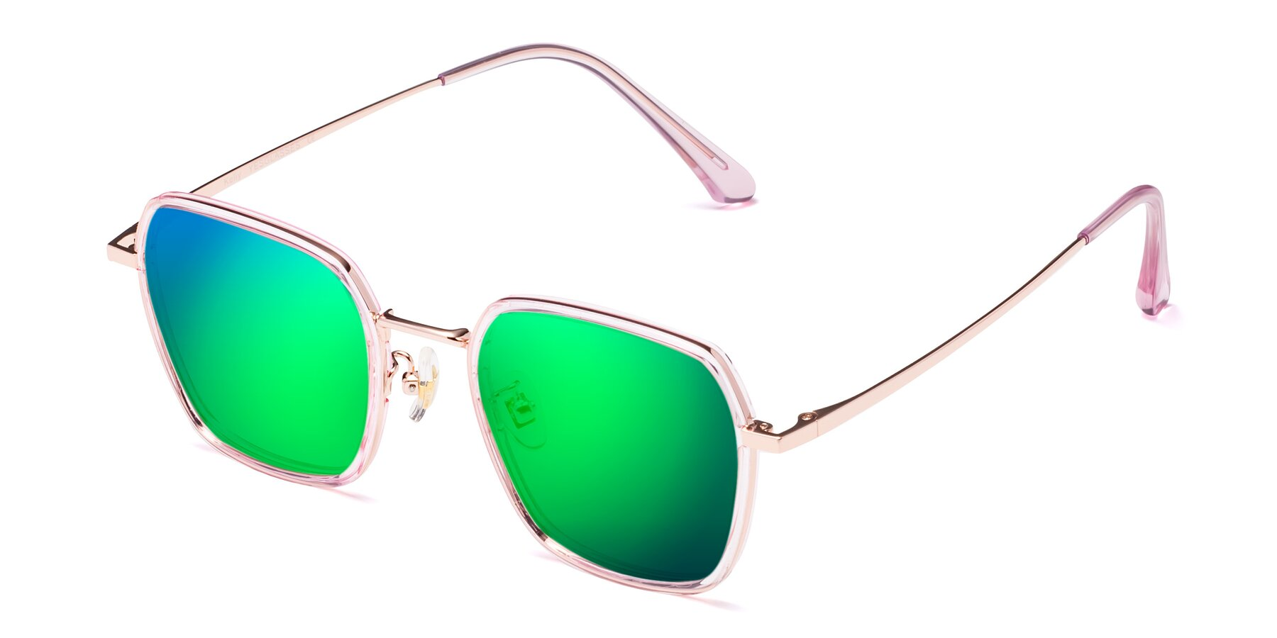 Angle of Kelly in Pink-Rose Gold with Green Mirrored Lenses