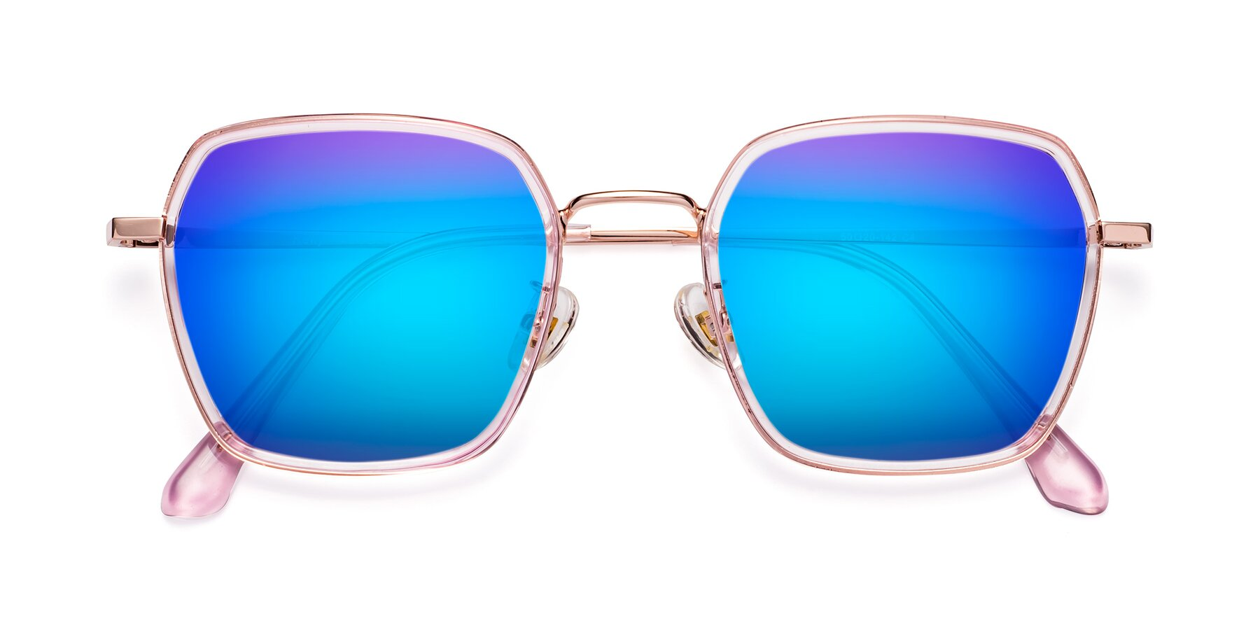 Folded Front of Kelly in Pink-Rose Gold with Blue Mirrored Lenses