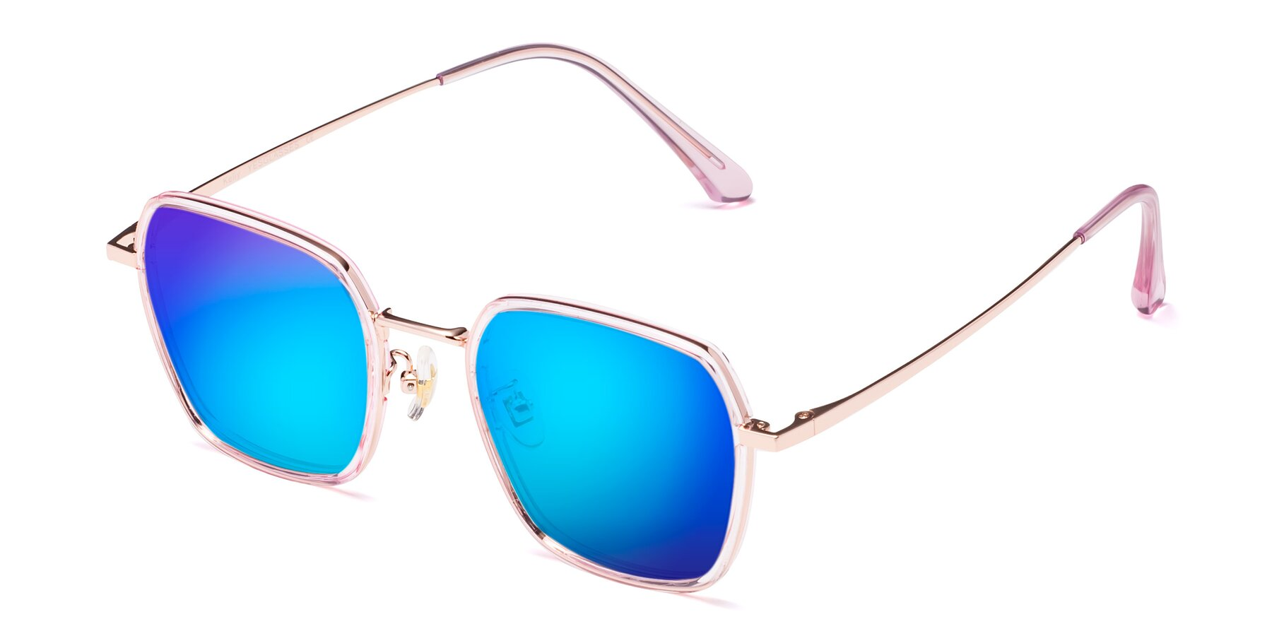 Angle of Kelly in Pink-Rose Gold with Blue Mirrored Lenses
