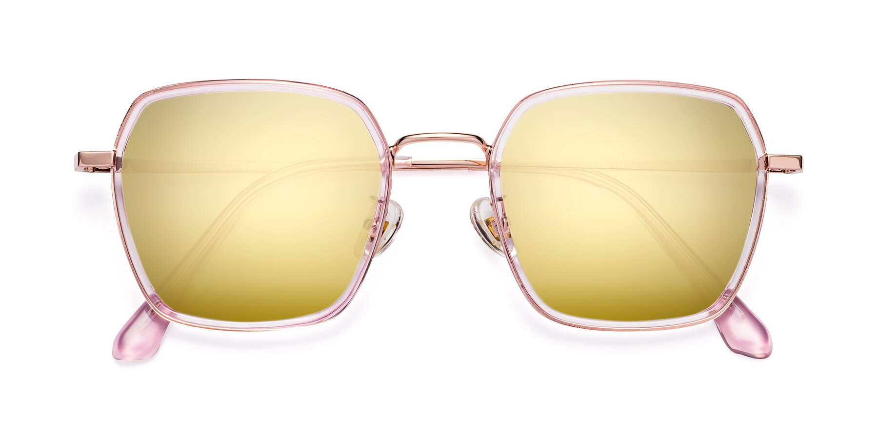 Folded Front of Kelly in Pink-Rose Gold with Gold Mirrored Lenses