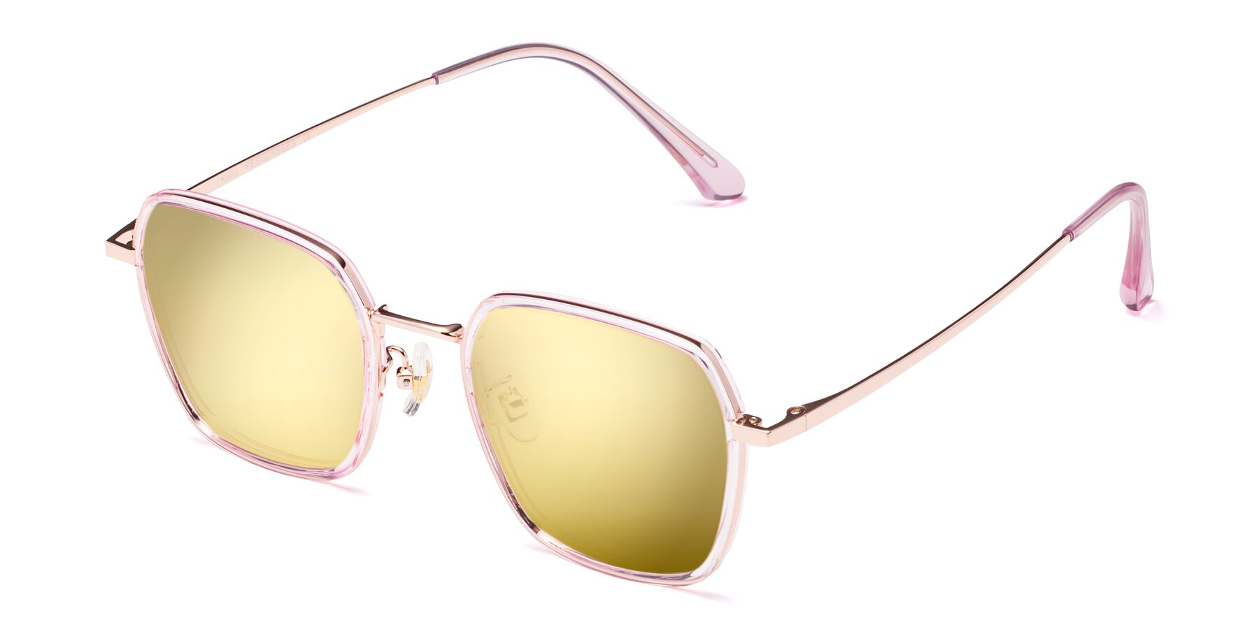Angle of Kelly in Pink-Rose Gold with Gold Mirrored Lenses