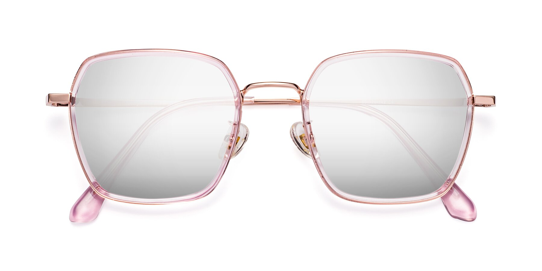 Folded Front of Kelly in Pink-Rose Gold with Silver Mirrored Lenses