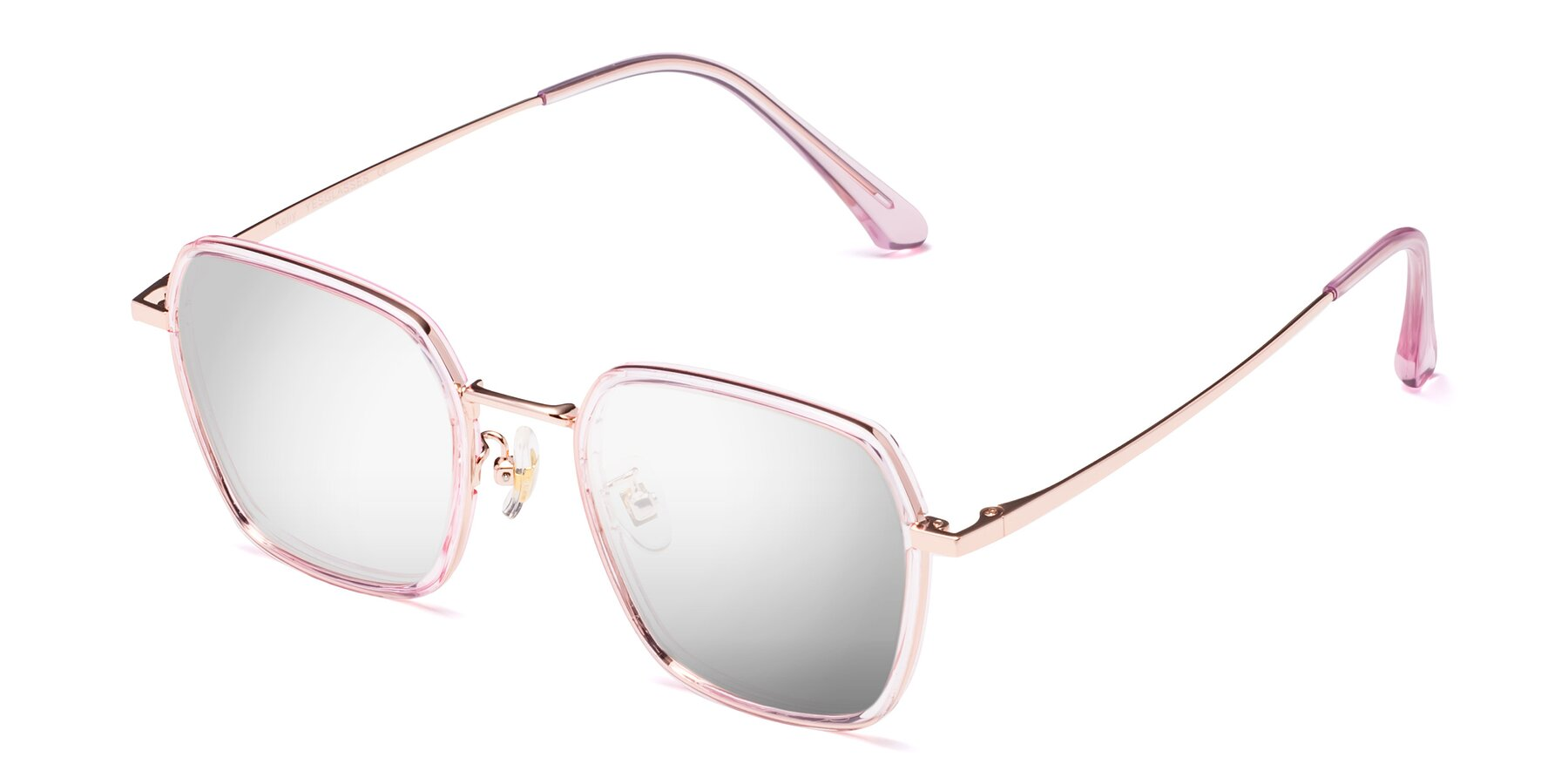Angle of Kelly in Pink-Rose Gold with Silver Mirrored Lenses