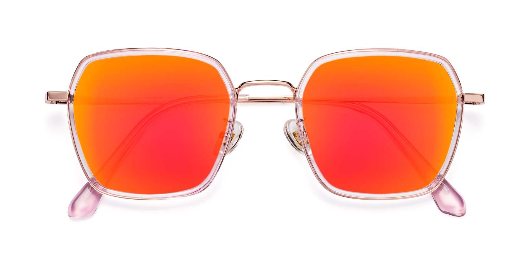 Folded Front of Kelly in Pink-Rose Gold with Red Gold Mirrored Lenses