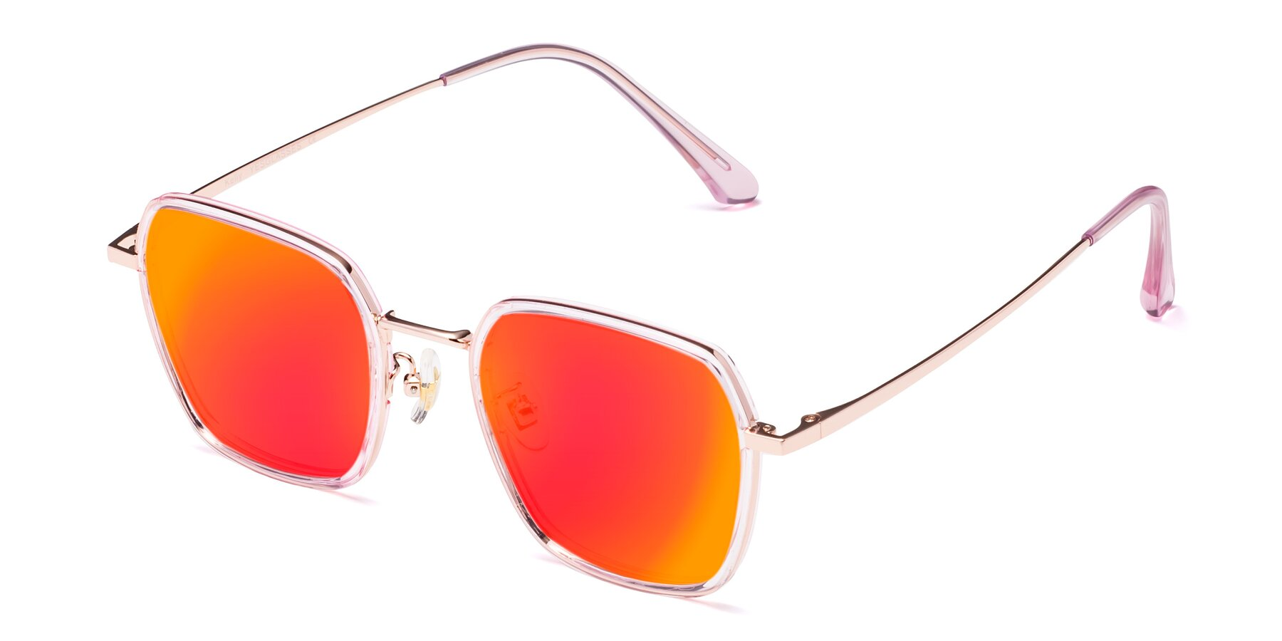 Angle of Kelly in Pink-Rose Gold with Red Gold Mirrored Lenses