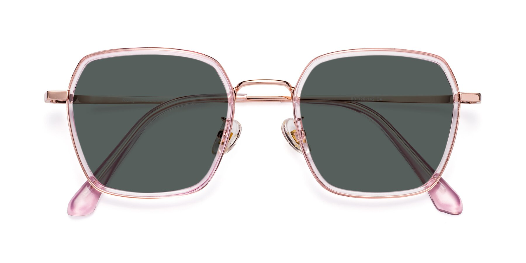Folded Front of Kelly in Pink-Rose Gold with Gray Polarized Lenses