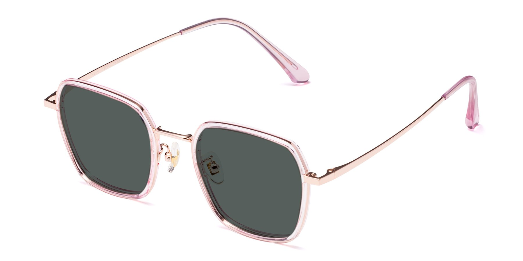 Angle of Kelly in Pink-Rose Gold with Gray Polarized Lenses