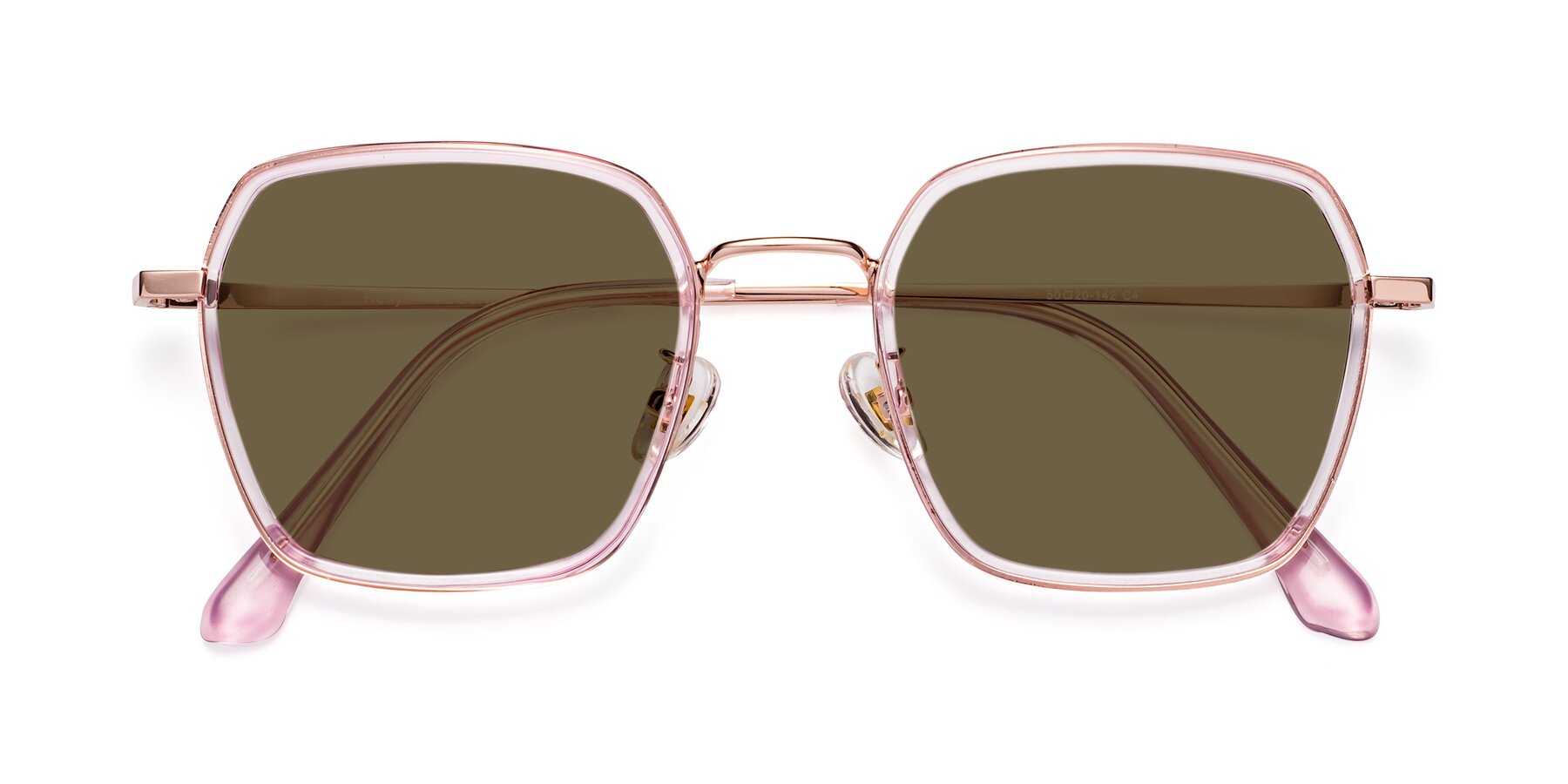 Folded Front of Kelly in Pink-Rose Gold with Brown Polarized Lenses