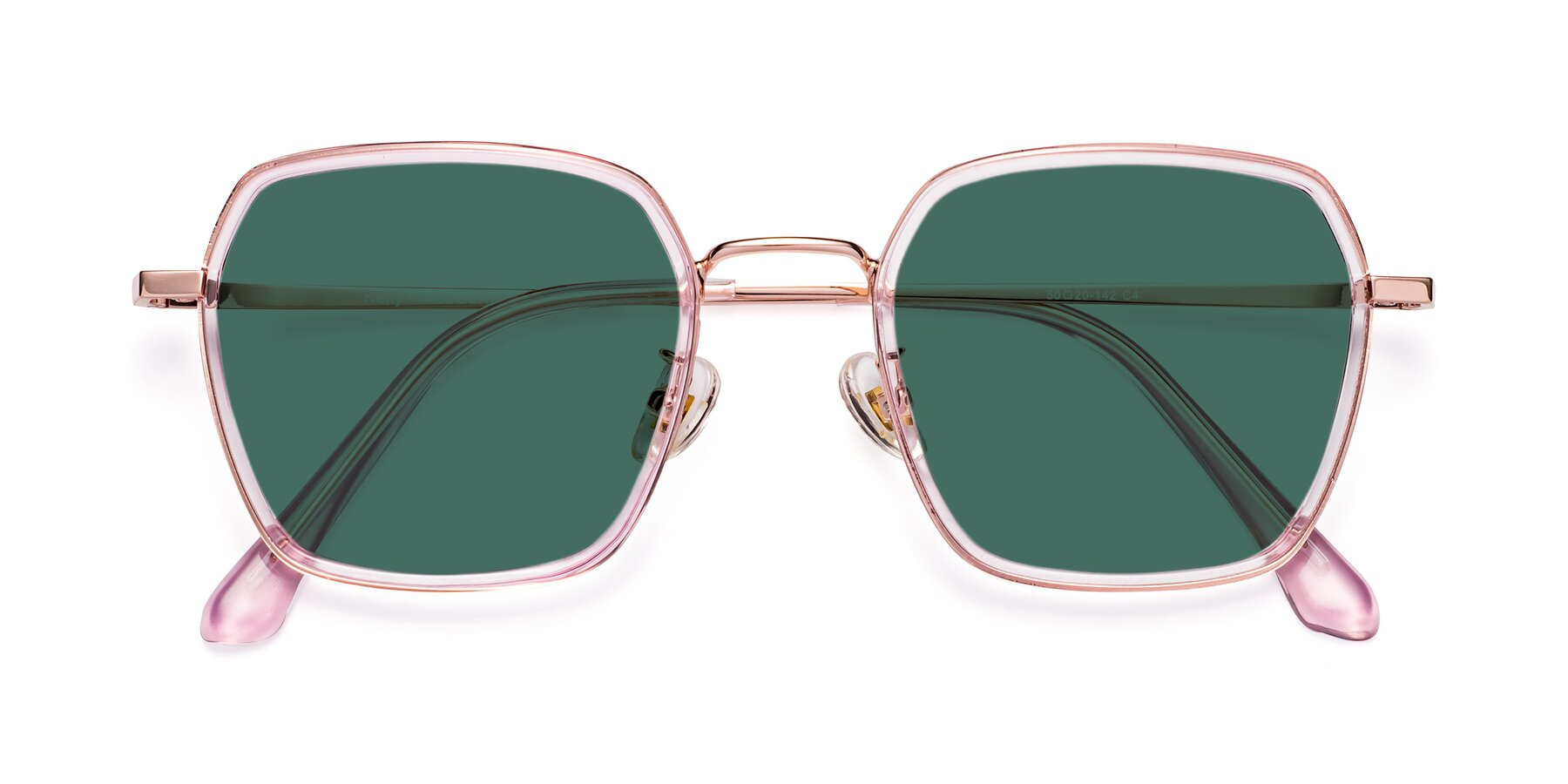 Folded Front of Kelly in Pink-Rose Gold with Green Polarized Lenses