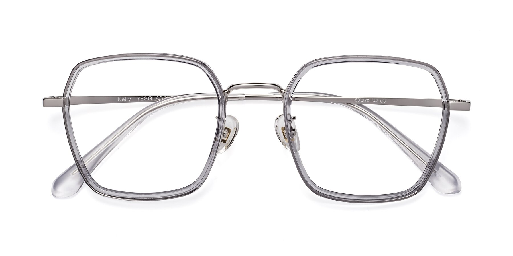 Folded Front of Kelly in Light Gray-Silver with Clear Eyeglass Lenses