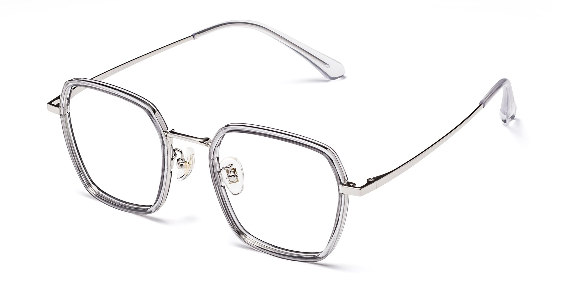 Angle of Kelly in Light Gray-Silver with Clear Eyeglass Lenses