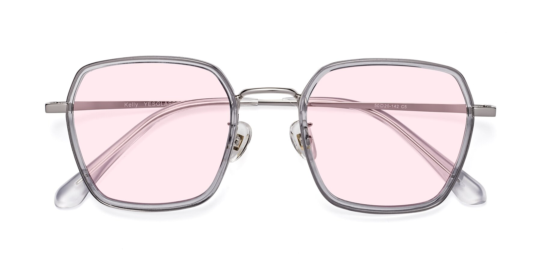 Folded Front of Kelly in Light Gray-Silver with Light Pink Tinted Lenses