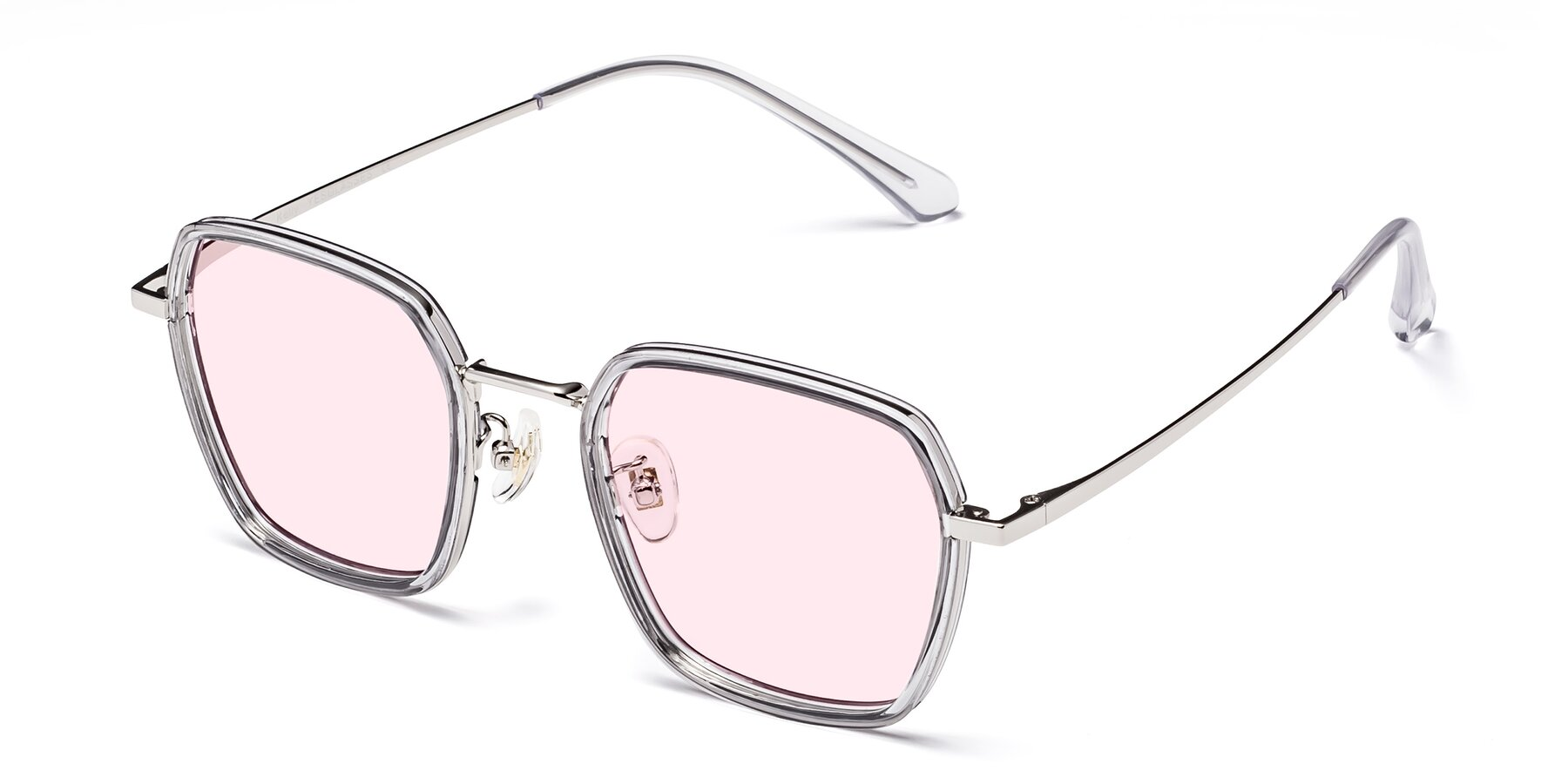 Angle of Kelly in Light Gray-Silver with Light Pink Tinted Lenses