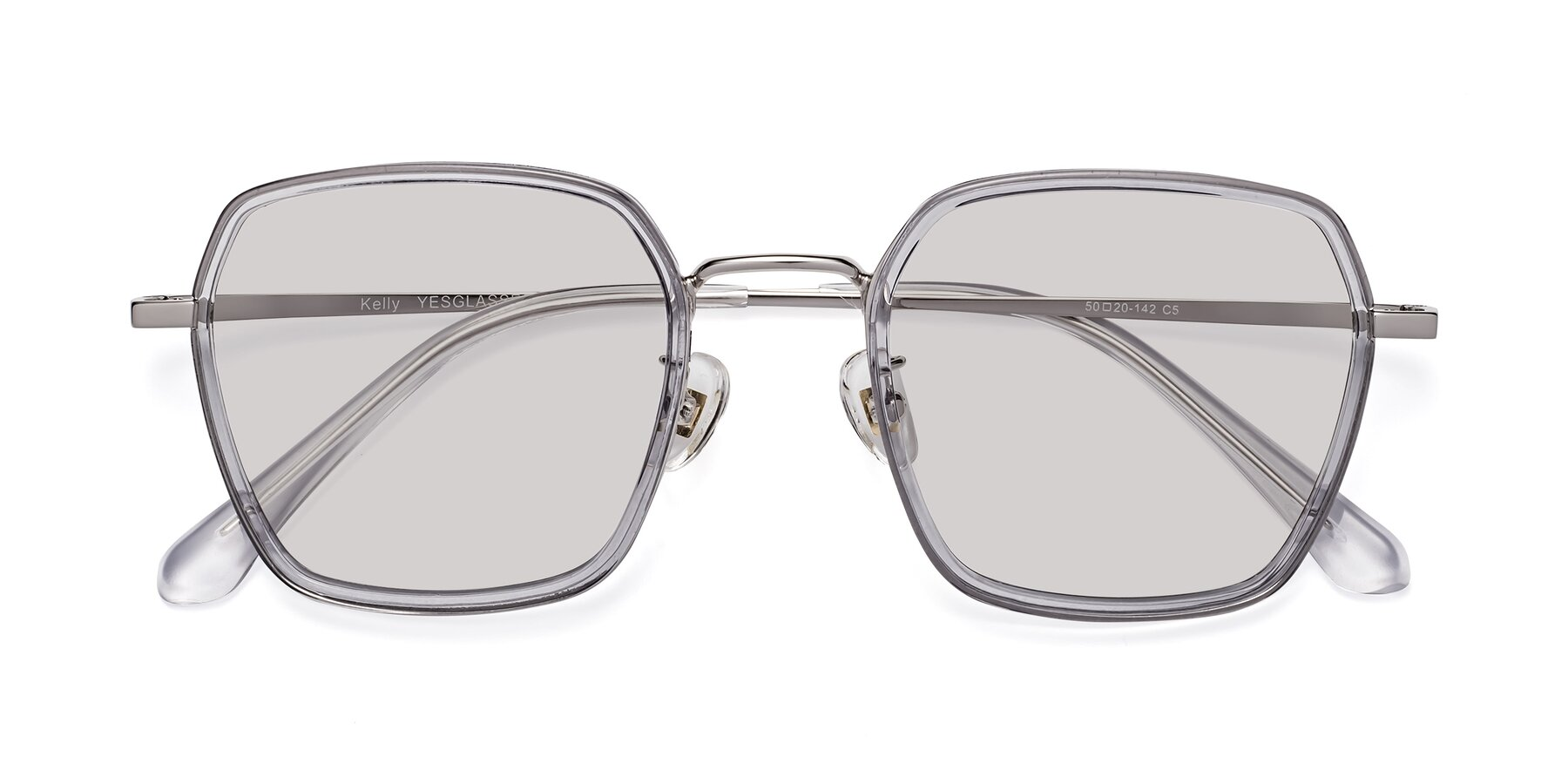 Folded Front of Kelly in Light Gray-Silver with Light Gray Tinted Lenses
