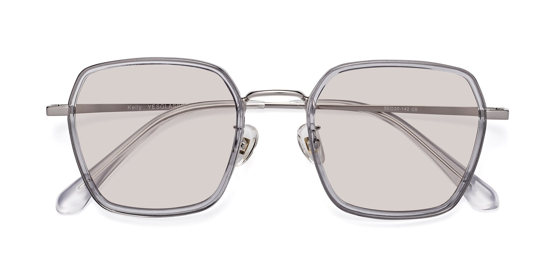 Folded Front of Kelly in Light Gray-Silver with Light Brown Tinted Lenses