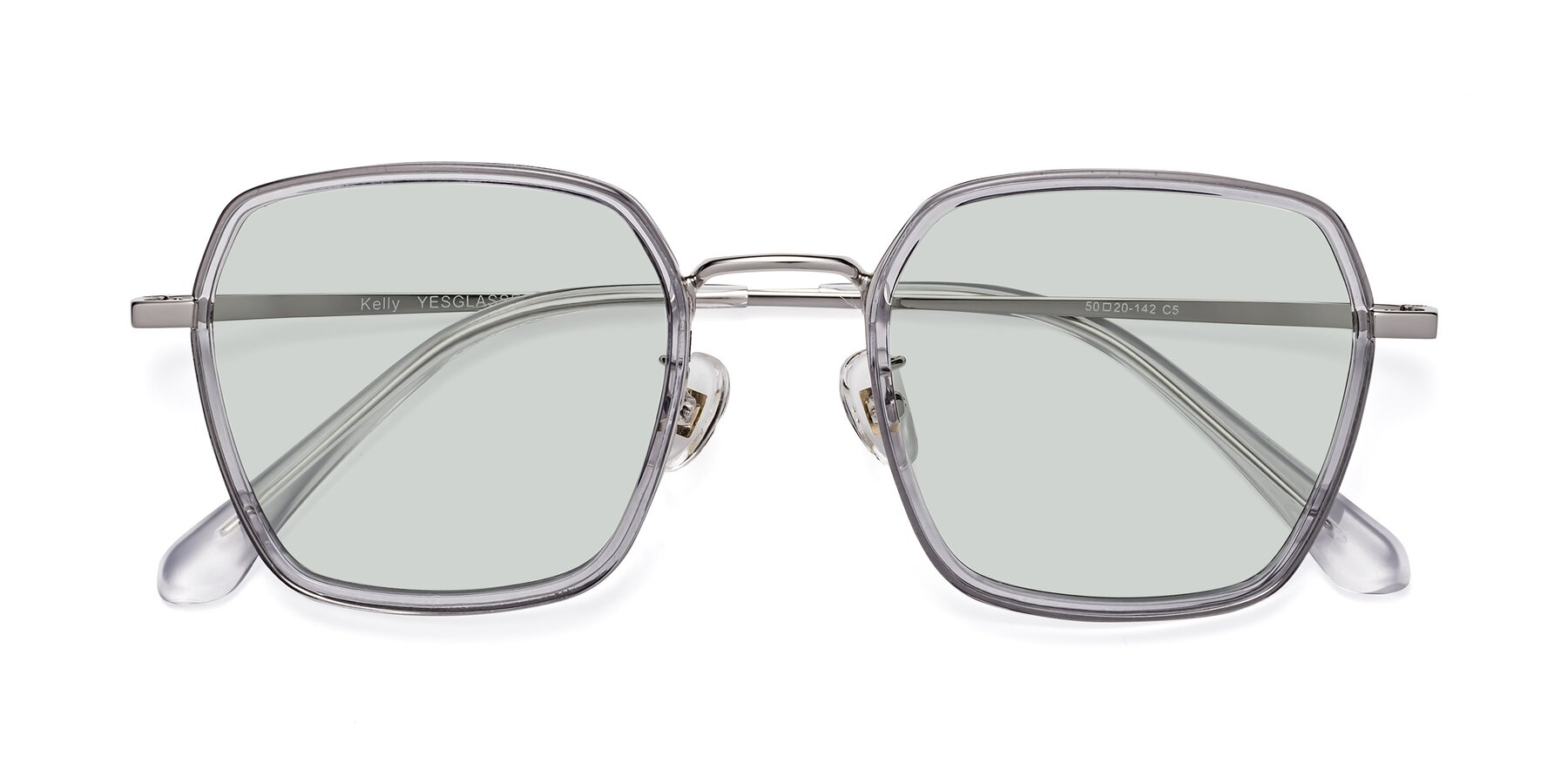 Folded Front of Kelly in Light Gray-Silver with Light Green Tinted Lenses