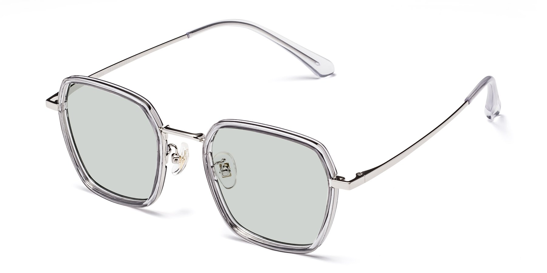 Angle of Kelly in Light Gray-Silver with Light Green Tinted Lenses