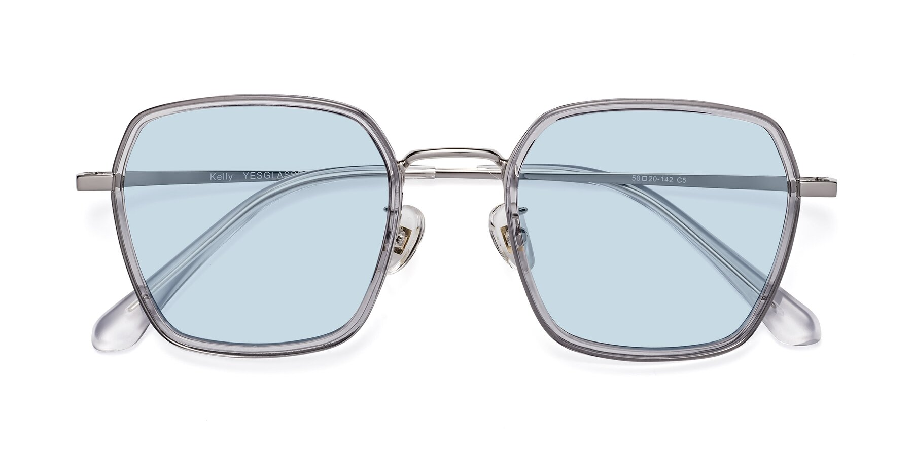 Folded Front of Kelly in Light Gray-Silver with Light Blue Tinted Lenses