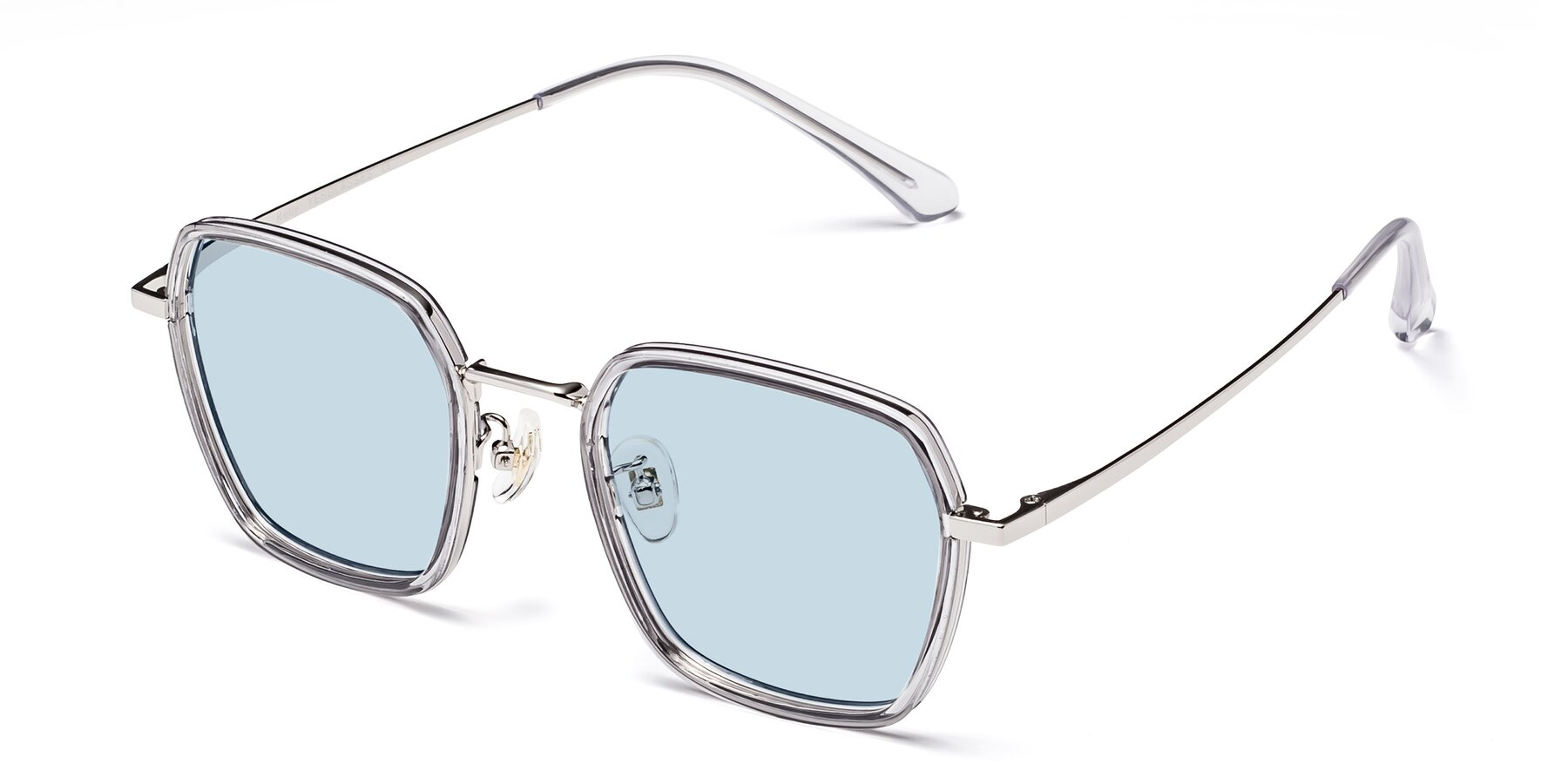 Angle of Kelly in Light Gray-Silver with Light Blue Tinted Lenses