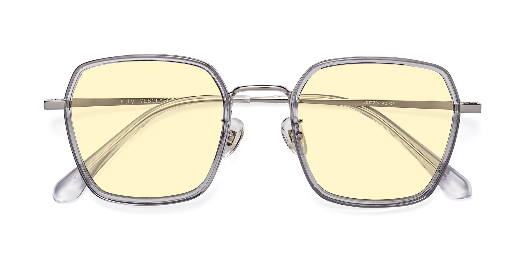 Folded Front of Kelly in Light Gray-Silver with Light Yellow Tinted Lenses