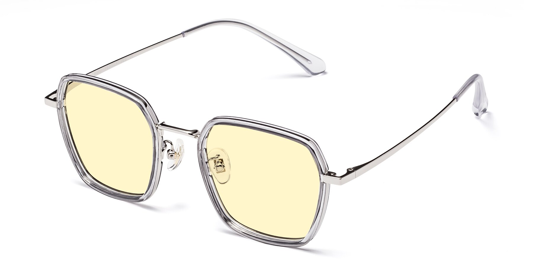 Angle of Kelly in Light Gray-Silver with Light Yellow Tinted Lenses