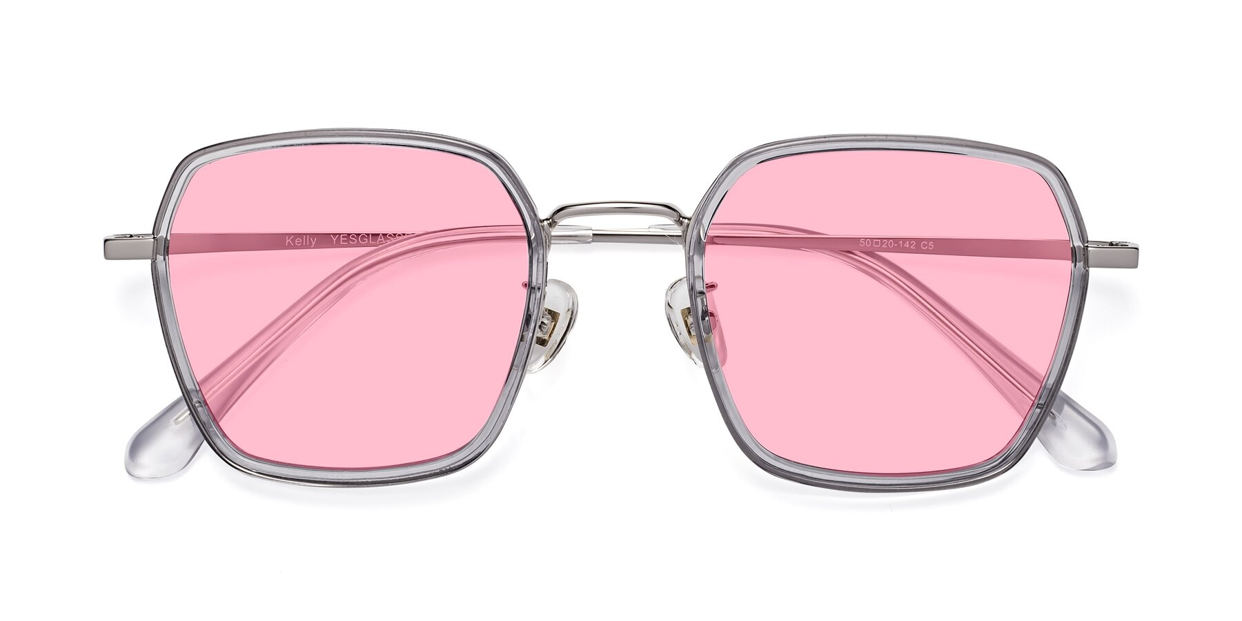 Folded Front of Kelly in Light Gray-Silver with Medium Pink Tinted Lenses
